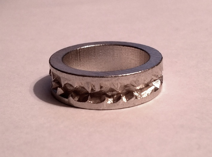Silver Crystals Ring 3d printed Straight from the box - Raw Silver