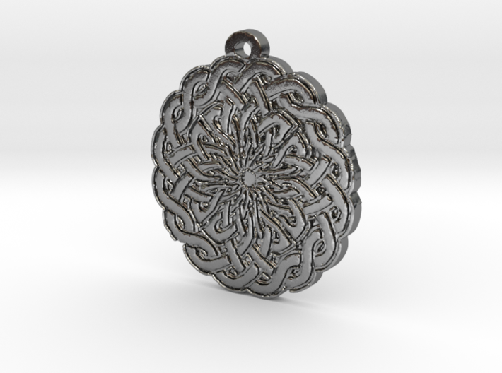 Celtic Knot Circle 2 Medallion Pendant 3d printed