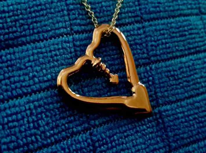 TWO HEARTS ONE LOVE 3d printed 14k Rose Gold Plated photo on Blue microfiber