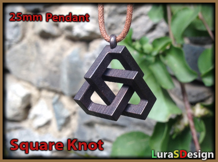 Square Knot Pendant 3d printed polished Bronze Steel with 2mm cord
