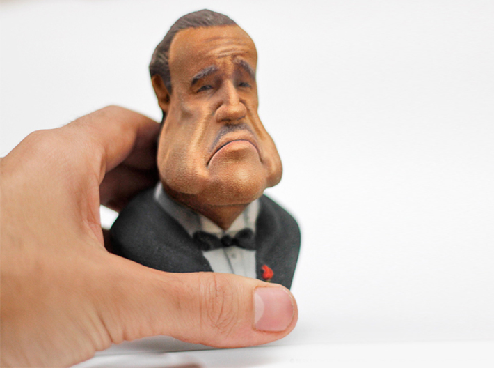 Marlon Brando Caricature Bust 3d printed The printed model shown in this image is actually 10cm tall. The sculpture for sale is 7cm tall.
