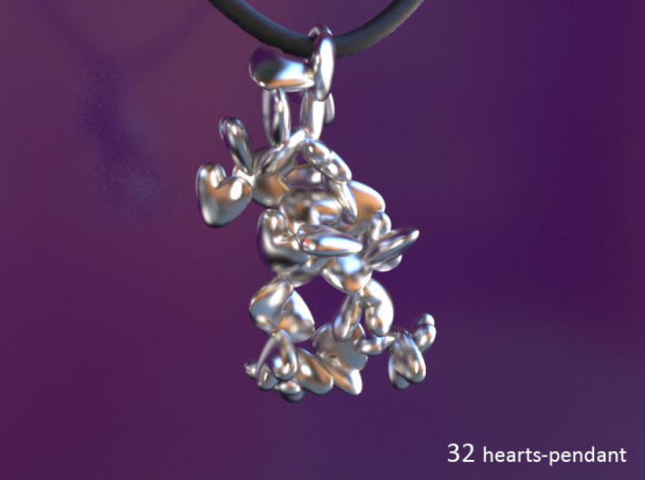Multiple Pendants with 1 up to 55 hearts/ pendant 3d printed