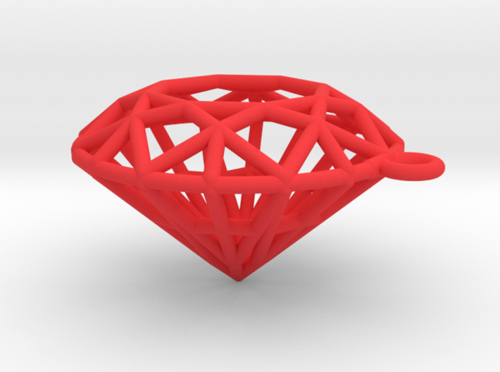 Ruby Wireframe necklace 3d printed