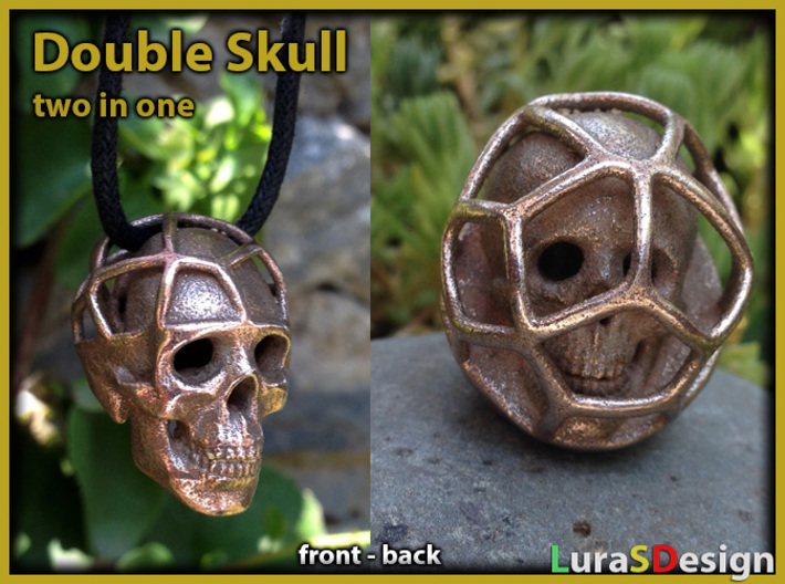 Double Skull Pendant 3d printed printed in Stainless Steel