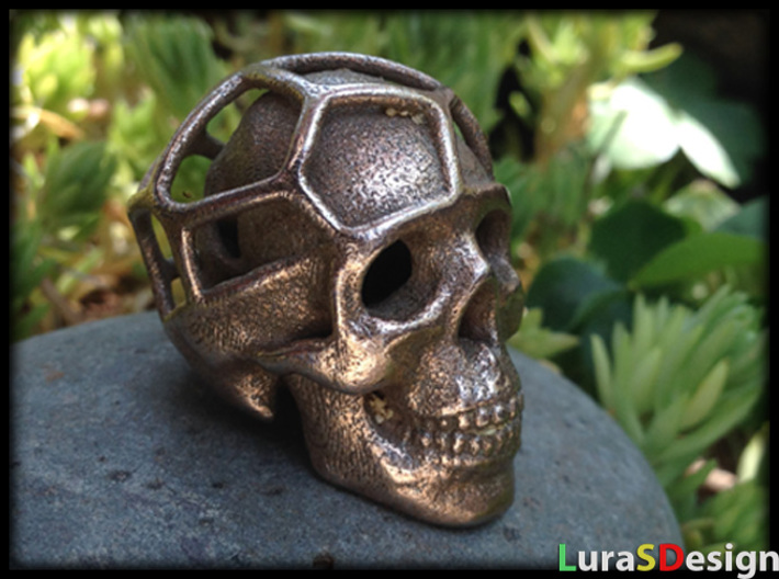 Double Skull Pendant 3d printed Stainless Steel