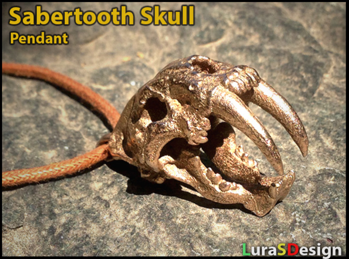 Skull of a saber-toothed Cat 3d printed Stainless Steel