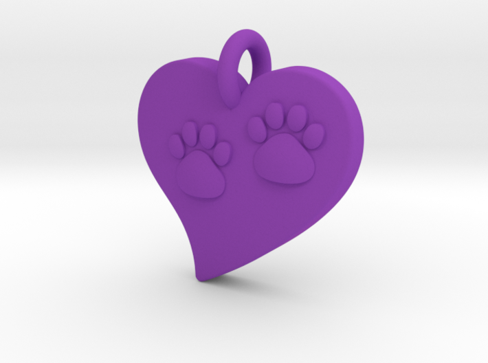 Pet Paw In Heart A 3d printed
