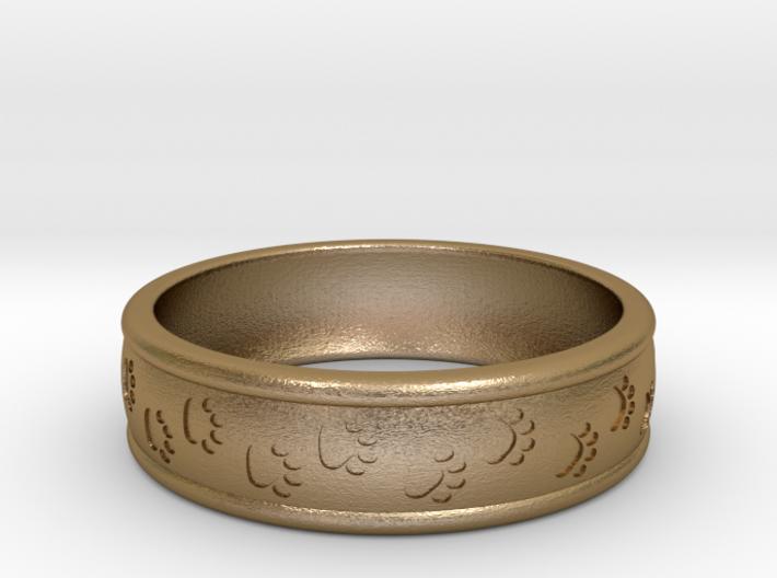 Size 9 Pet Paw Ring Engraved B 3d printed