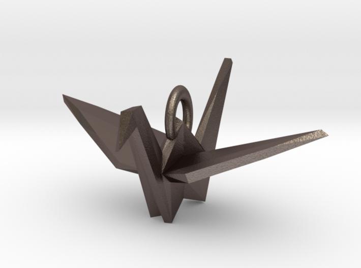 Origami Crane Pendant 3d printed