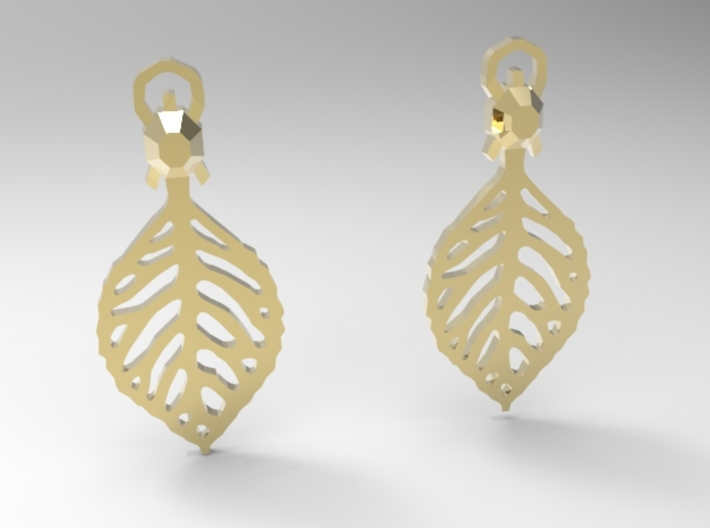 Turtle Leaf Earrings 3d printed 18k Gold Plated (Quick render)
