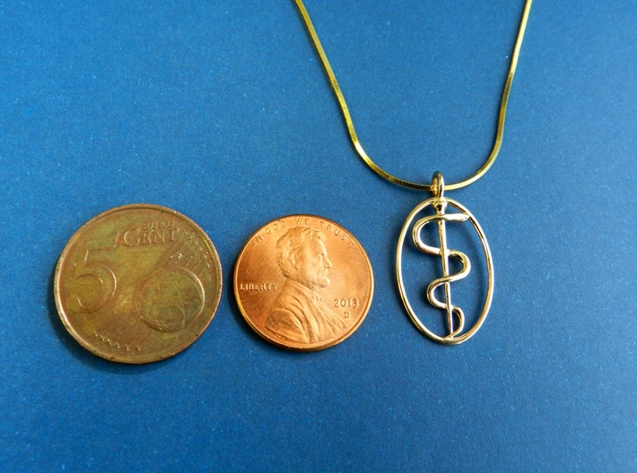 Rod Of Asclepius Pendant - Mini 3d printed 14K Gold. Coins for scale.