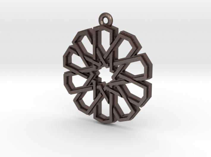 """Ten-Pointed Star"" Pendant, Printed Metal 3d printed"