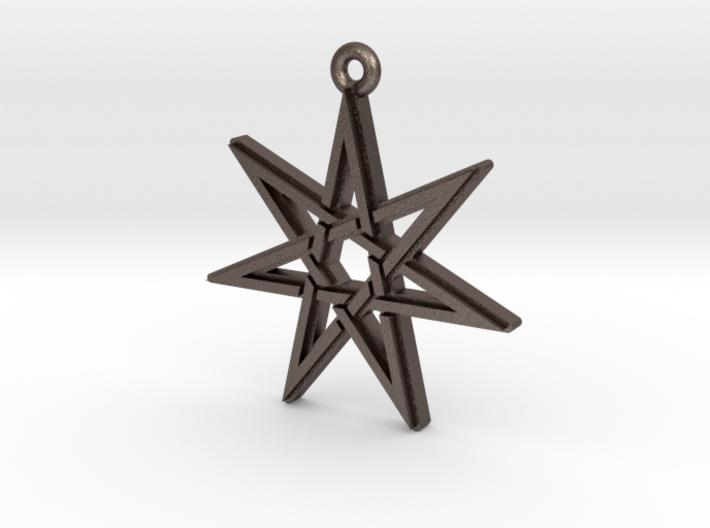 """Heptagram 3.0"" Pendant, Printed Metal 3d printed"