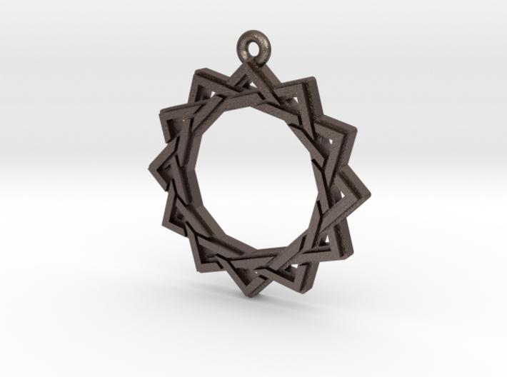 """""""Dodecagram 3.0"""" Pendant, Printed Metal 3d printed"""