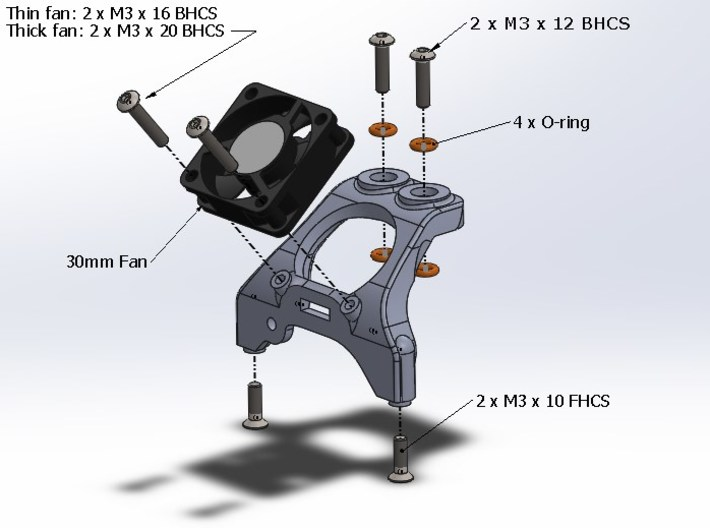 B5M / T5M / SC5M Chassis Brace With Fan Mounting, 3d printed Assembly View Of The Part