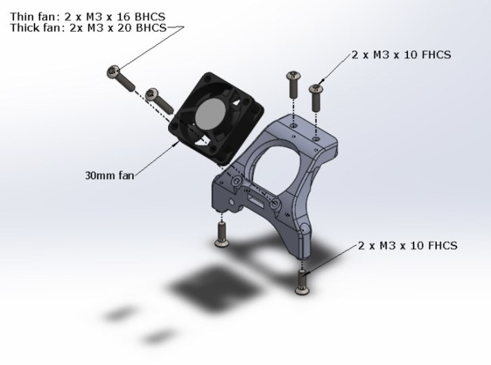 B5M / T5M / SC5M Chassis Brace With Fan Mounting 3d printed Assembly View Of The Part