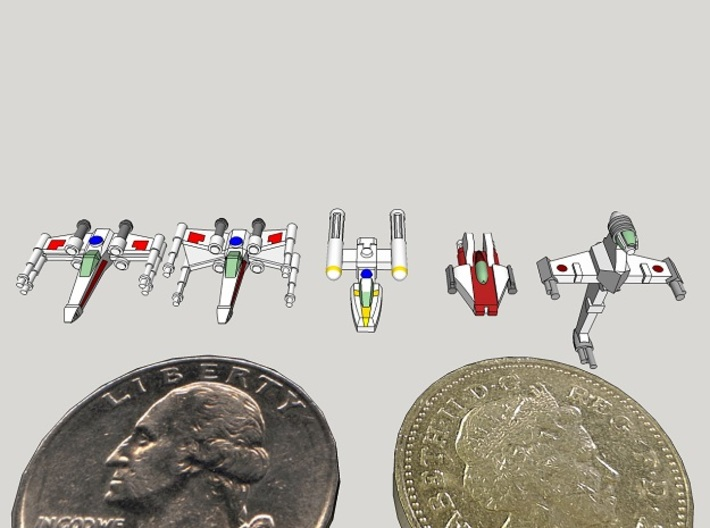 1:1000-scale Rebel Fighter Pack (32 pcs) 3d printed