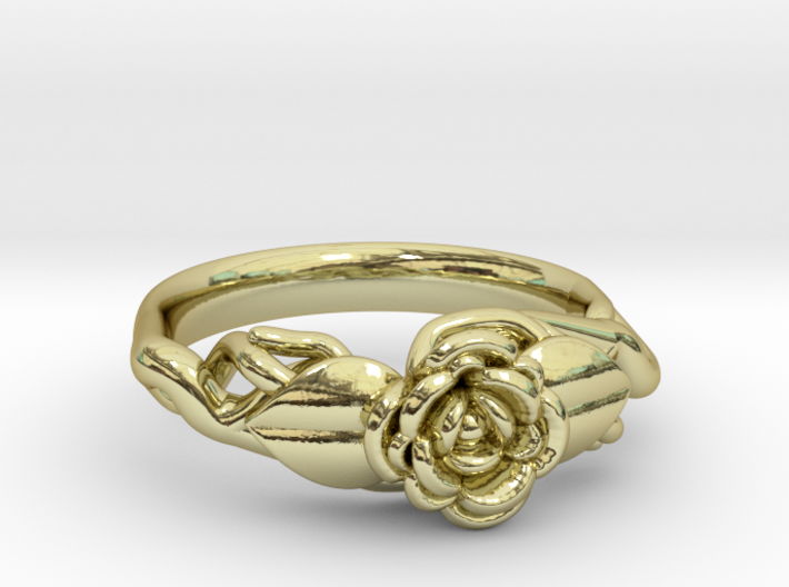 Ring with a rose on a branch 3d printed