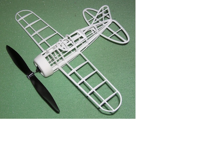 Peanut scale Brewster 239 Buffalo 3d printed Printed framework with rubber band propeller