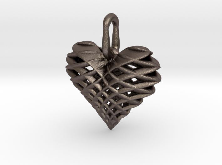 Heart Pendant Dual Twist Small 3d printed