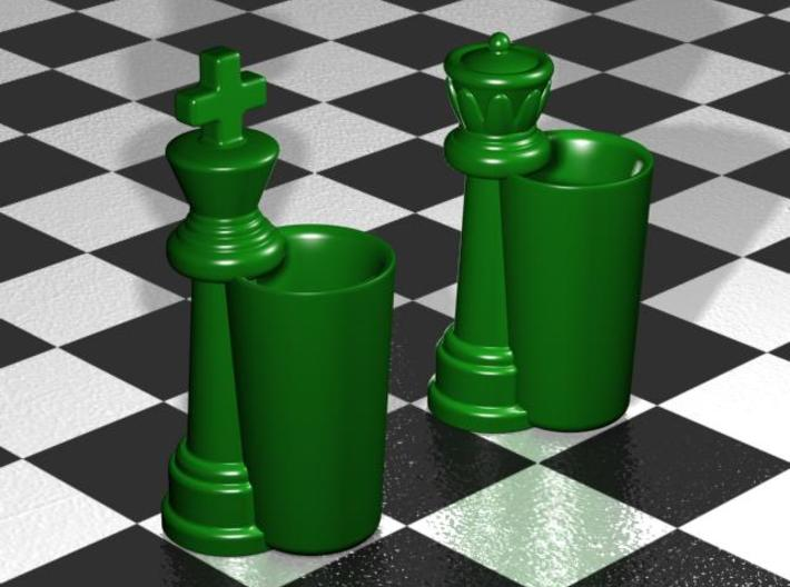 King & Queen Chess Pieces Shot Glasses-44mL/1.5oz 3d printed Gloss Oribe Green  Porcelain