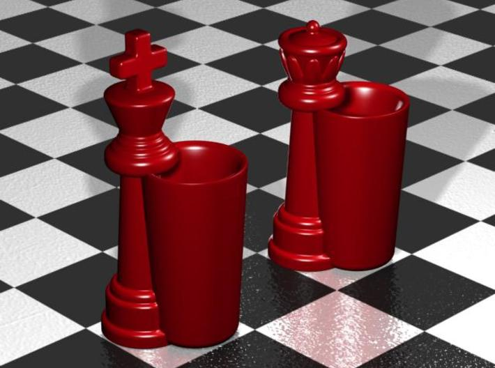 King & Queen Chess Pieces Shot Glasses-44mL/1.5oz 3d printed Gloss Red  Porcelain