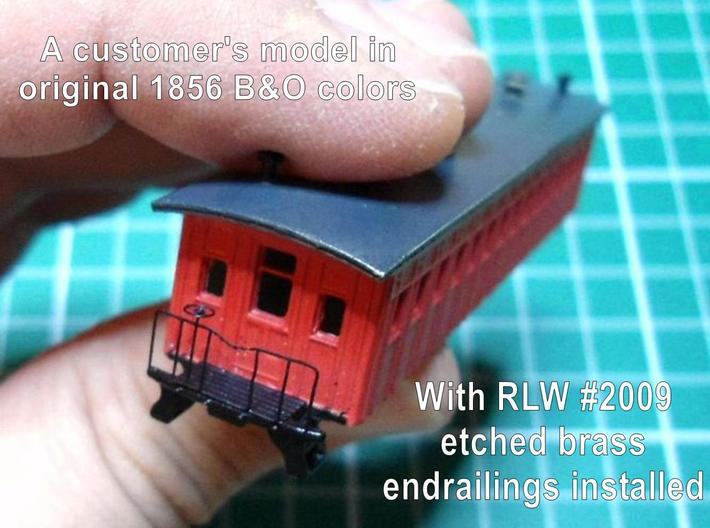 R02i 2x N scale B&O 1856 passenger coach w/int. 3d printed with RLW #2009 brass endrail parts