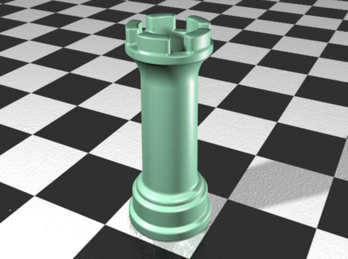 Rook Chess Piece Shot Glass - 30 mL 3d printed Gloss Celadon Green Porcelain