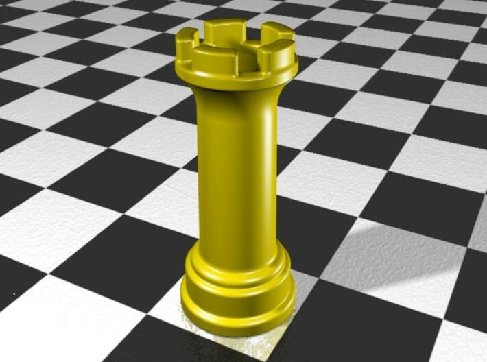 Rook Chess Piece Shot Glass - 30 mL 3d printed Gloss Yellow Porcelain