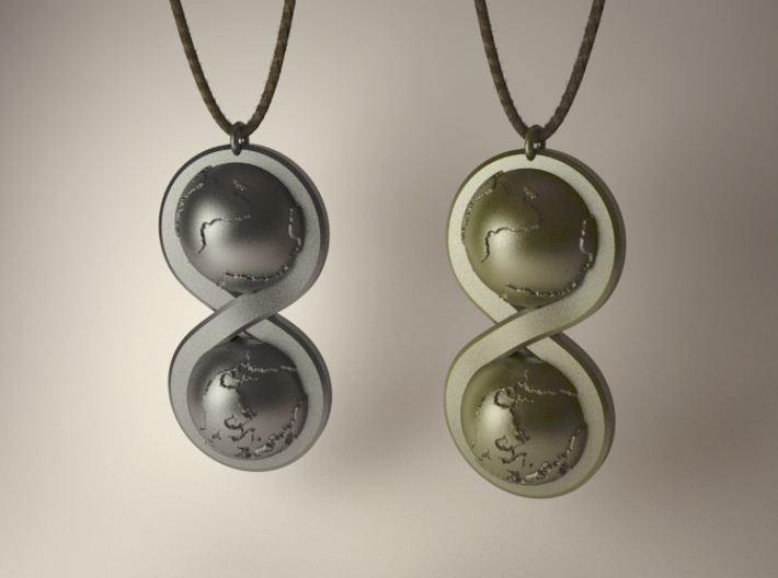 Infinite Worlds Pendant 3d printed VRay render - steel