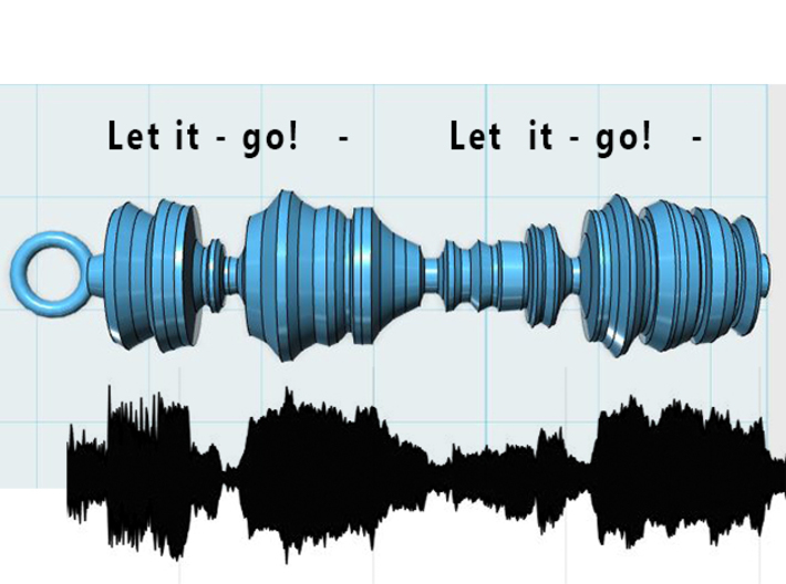 "Elsa singing ""Let It Go"" Frozen, Waveform Pendant 3d printed Captured waveform and model"