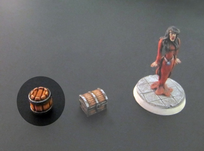 Barrels 10x10mm (10 pcs) 3d printed White Plastic, hand-painted. 28mm mini on the right, for scale.