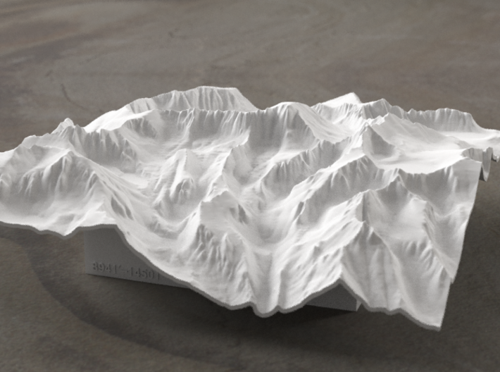 6'' Mt. Whitney Terrain Model, California, USA 3d printed Radiance rendering