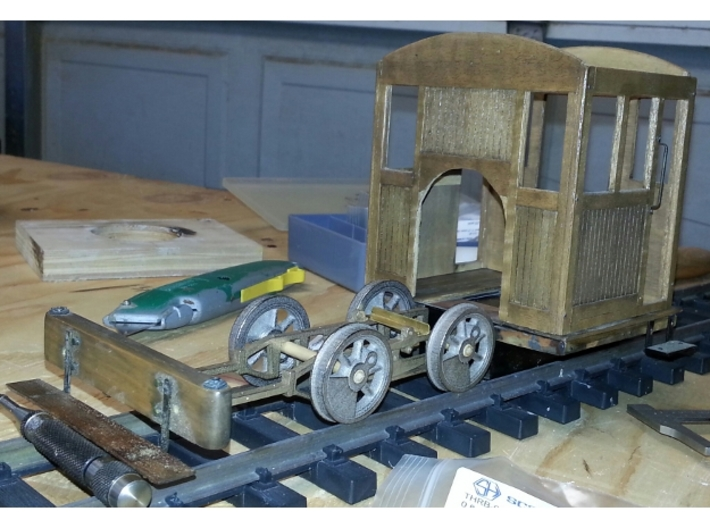 0-4-0 frames for OR&L Kauila 1:20.32 3d printed test fitting old cab and front beam