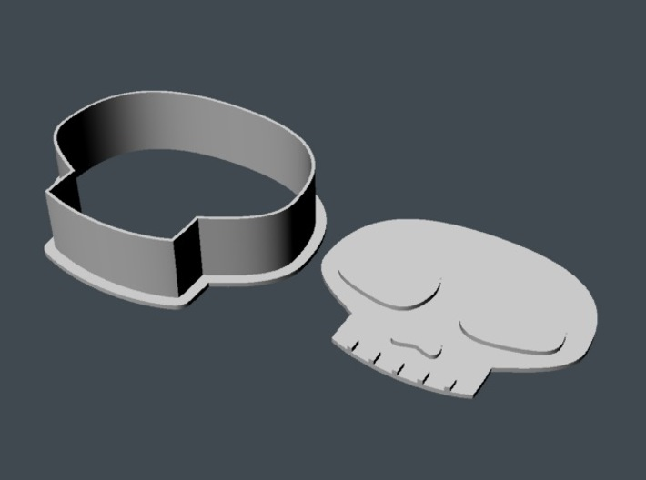 Skull Cookie Cutter 1 3d printed Render