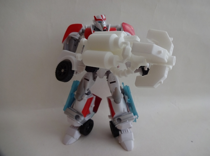 Autobot Beam Gun (Right Handed) 3d printed Robot not included, but shown for scale.