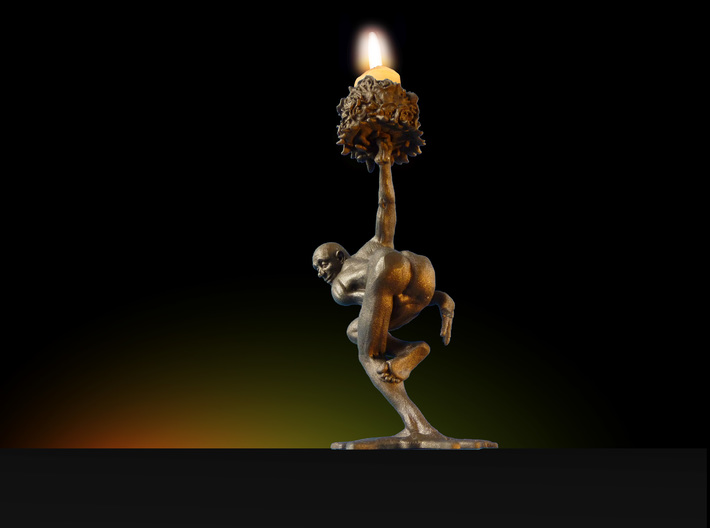"""candleholder """"shY"""" 3d printed 3D printed candleholder """"shY"""" in matte bronze steeel"""