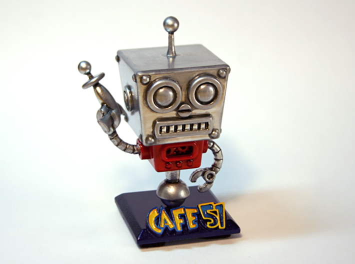 Cafe 51 - Sci-Fi Robot with Game Logo Base 3d printed Photo is of a White Detail material, sanded and hand-painted with enamel paints (not available)