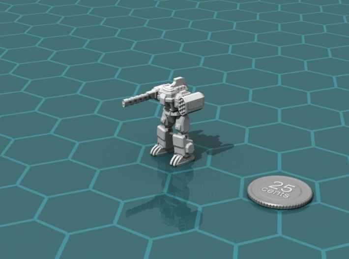 Colonial Fire Support Walker 3d printed Render of the model, with a virtual quarter for scale.