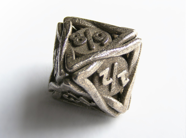 'Twined' Dice D8 Spindown Tarmogoyf P/T Die 3d printed The die printed in stainless steel
