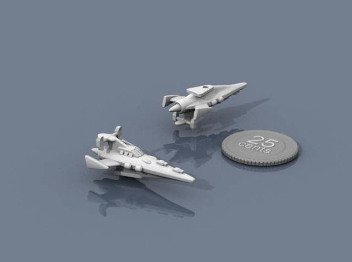 Novus Regency Corvette 3d printed Renders of the model, plus a virtual quarter for scale.