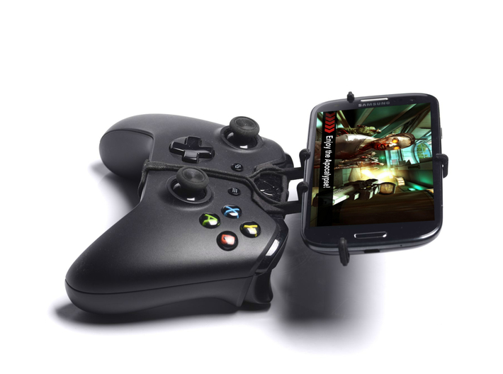 Xbox One controller & Spice Stellar 470 (Mi-470) 3d printed Side View - A Samsung Galaxy S3 and a black Xbox One controller