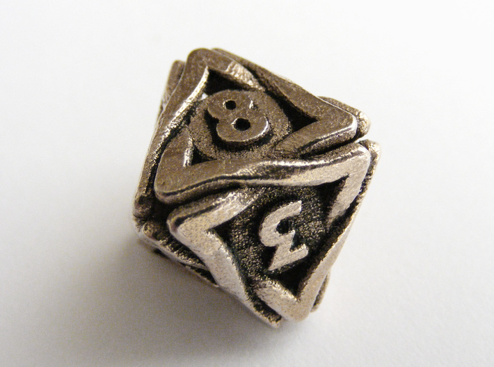 'Twined' Dice D8 Gaming Die (16 mm) 3d printed
