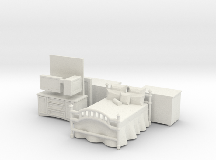 Bedroom furniture with Brass Bed HO Scale 3d printed