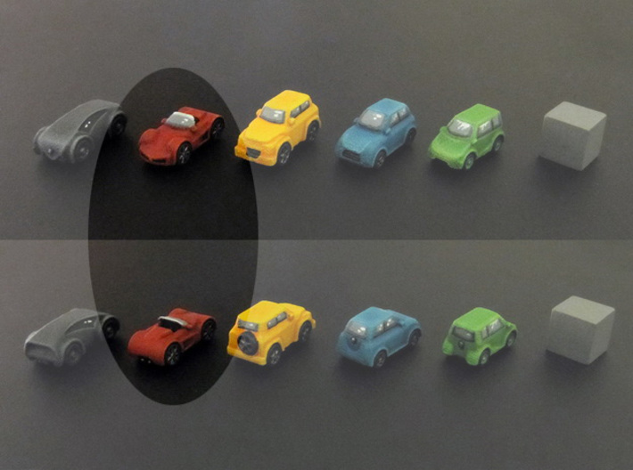 Miniature cars, Sports car (8pcs) 3d printed Hand-painted car. 10mm cube on the right for scale.