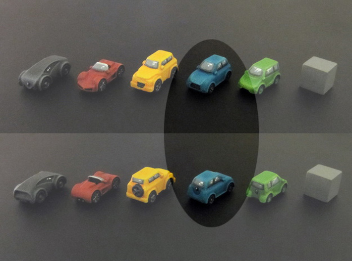 Miniature cars, City car (8pcs) 3d printed Hand-painted car. 10mm cube on the right for scale.