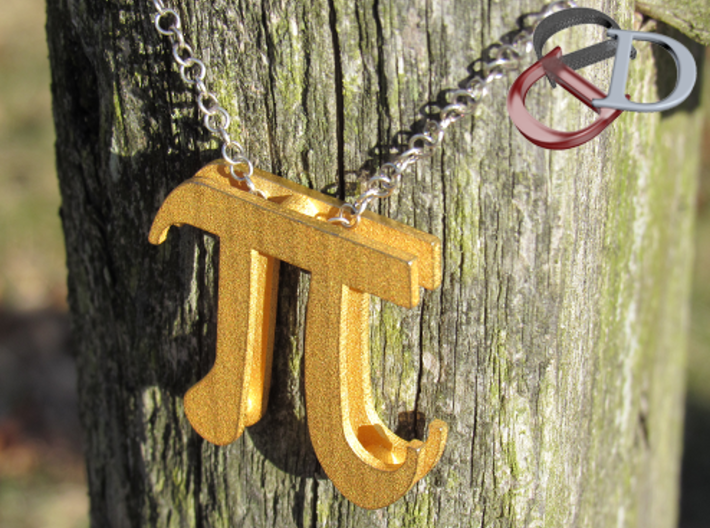 Pi Pendant  3d printed Shown in Matte Gold Steel. Actual Photo