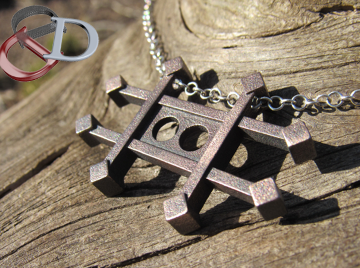 Zinc Alchemy Symbol Pendant  3d printed Actual Product image shown in Polished Grey Steel