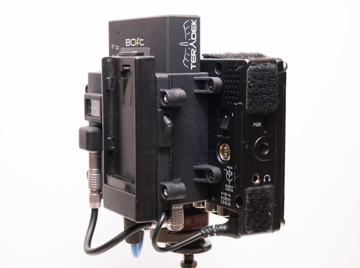Teradek Bolt Pro Bracket for TV Logic VFM-056/058 3d printed Shown with TV Logic battery plate with Lemo DC out