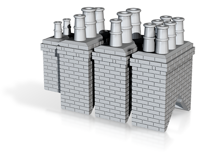 Chimneys Types 1 To 4 - 4mm 3d printed